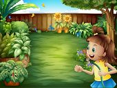 picture of water bug  - Illustration of a girl holding a water hose - JPG