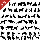 image of siluet  - Set different vector pets silhouettes for design use - JPG