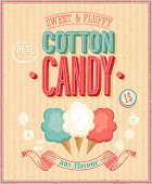 stock photo of candy cotton  - Vintage Cotton Candy Poster - JPG