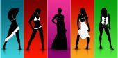 stock photo of role model  - Sexy models walking in Colorful Fashion Show - JPG
