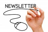 foto of newsletter  - Hand sketching Newsletter Concept with black marker on transparent wipe board - JPG