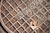 Old Rusted Sewer Manhole Closeup Abstract Fragment