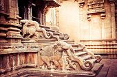 foto of trichy  - Amazing stone bas relief on stepladder of main tower at Hindu Brihadishvara Temple - JPG
