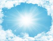 stock photo of spring-weather  - Blue sky with clouds and sun background - JPG
