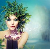 picture of blowing  - Winter Christmas Woman - JPG