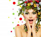 stock photo of emotion  - Christmas Woman - JPG