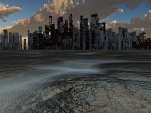 image of sci-fi  - Abandoned City and baked earth - JPG