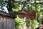 Wooden violin, fiddle in close up hangs above a street.