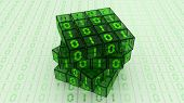 stock photo of byte  - Digital Binary Magic Cube Box  - JPG