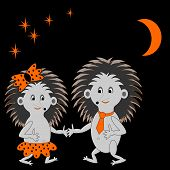 pic of animated cartoon  - A couple of funny cartoon hedgehogs dating in the night - JPG