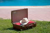Vintage Suitcase Near The Pool
