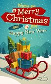 image of christmas greetings  - Open sleigh with bunch of gifts - JPG