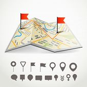 stock photo of gps navigation  - Folded abstract city map with the route and collection of different pins - JPG