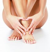 stock photo of fingers legs  - Woman loves her legs - JPG