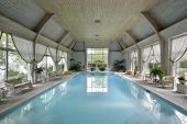 image of swimming pool family  - Large indoor swimming pool in luxury home - JPG