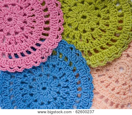 Background Of Multicolored Crochet Napkin
