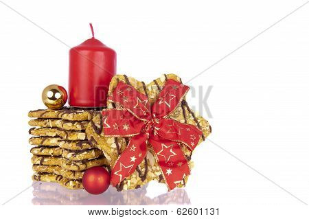 Biscuits Xmas Ribbon Balls Candle