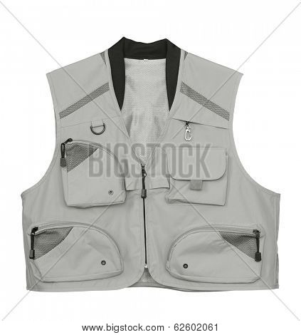 Fly fishing vest isolated on white