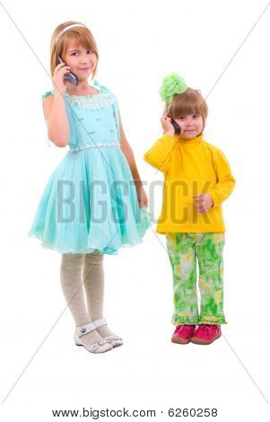 Phone Talking Little Girls. Isolated On White Background.