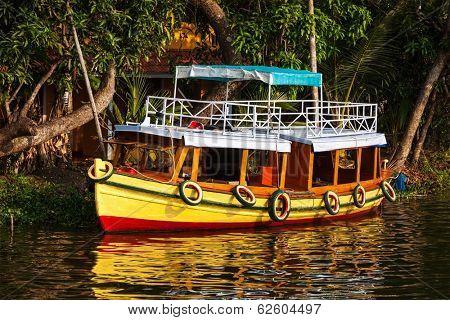 Colorful boat on Kerala backwaters. Kerala, India