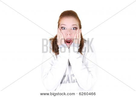 Studio Shot Of Shocked Girl
