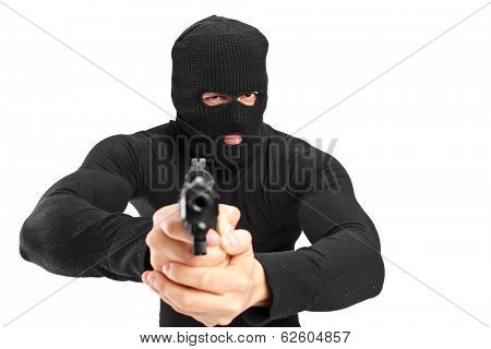 Man with a mask holding a gun isolated on white background
