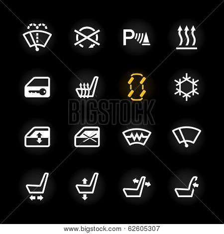 Car dashboard icons. Vector.