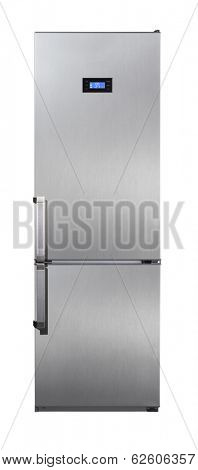 Two door stainless steel refrigerator isolated on white
