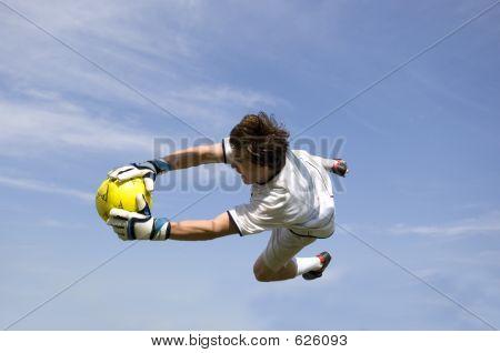 Soccer  Football Goal Keeper Making Save