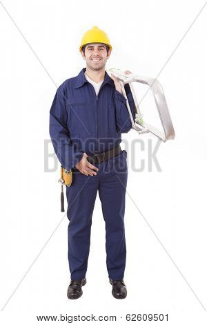 Full lenght of a young worker holding a ladder, isolated on white