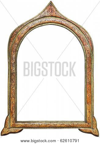 Old Wooden Moroccan Mirror Frame Isolated with Clipping Path