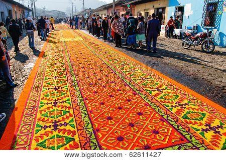 Ornate Holy Week Carpet In Antigua, Guatemala