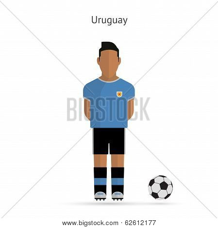National football player. Uruguay soccer team uniform.