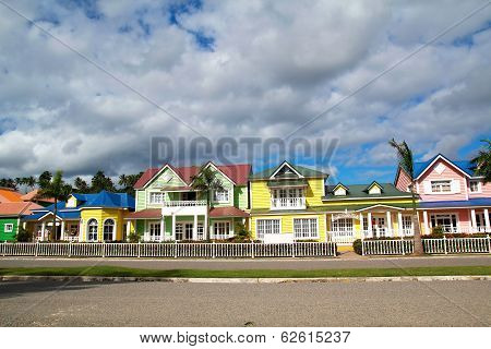 Wooden Colorful Houses In Caribbean