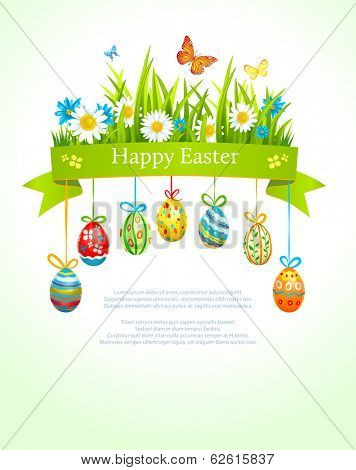 Spring easter background with eggs. Place for text. Vector illustration.