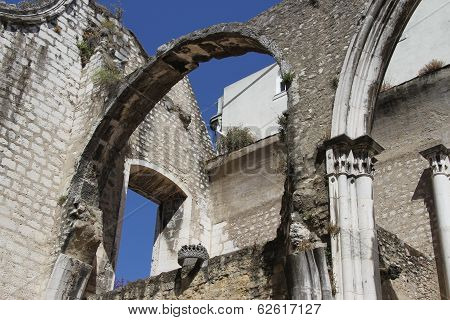 Lisbon, Portugal - May 30th, 2013: Detail of the Carmo church in Lisbon