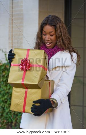 Happy Woman Christmas Shopping