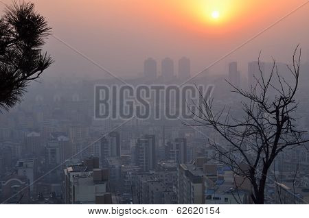 The aerial view of haze at sunset in Dalian city of China.