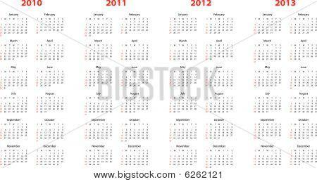 calendar for 2010 through 2013
