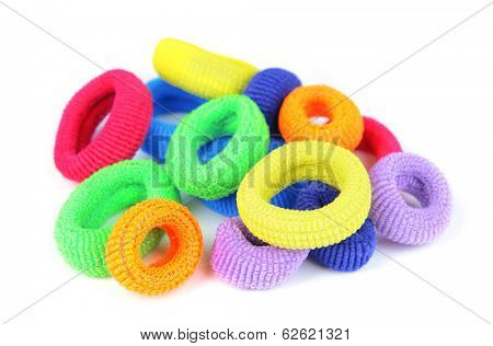 Colorful scrunchies isolated on white