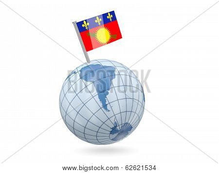 Globe With Flag Of Guadeloupe