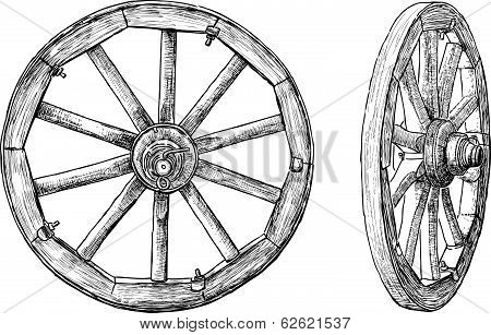 Vector drawing of the obsolete wooden wheels.