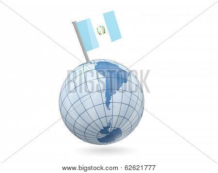 Globe With Flag Of Guatemala