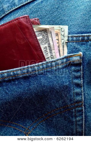 Us Dollar Bills In Jeans Back Pocket