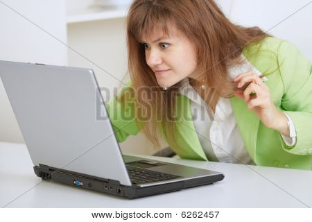 Girl Is Angry With The Laptop And Internet