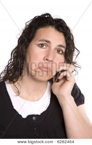 Woman On Phone Sad