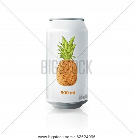 Grey Tin Of Pineapple Juice. Vector Design