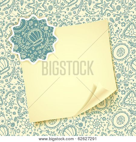 Folded sheet of paper with on abstract Seamless protozoa pattern