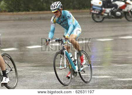 BARCELONA - MARCH, 30: Jakob Fuglsang of Astana Pro Team rides during the Tour of Catalonia cycling race through the streets of Monjuich mountain in Barcelona on March 30, 2014