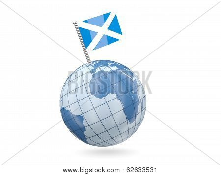 Globe With Flag Of Scotland